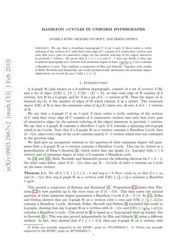 Daniela Kühn - Hamilton l-cycles in uniform hypergraphs