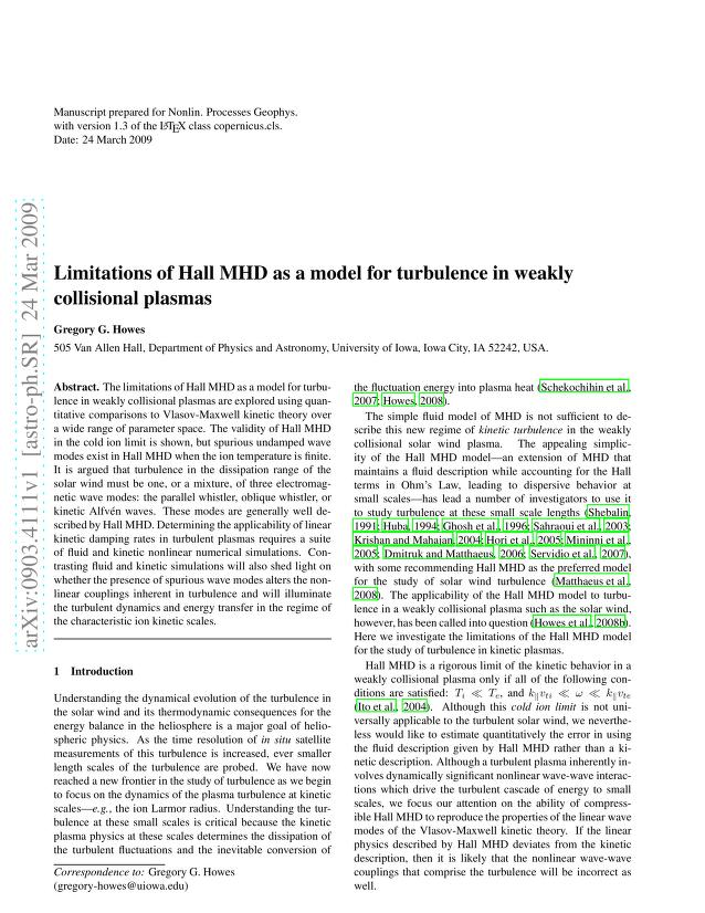 Gregory G. Howes - Limitations of Hall MHD as a model for turbulence in weakly collisional plasmas