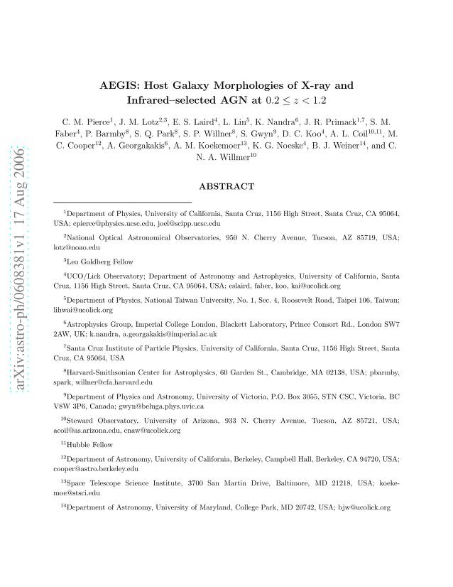 C. M. Pierce - AEGIS: Host Galaxy Morphologies of X-ray and Infrared-selected AGN at 0.2