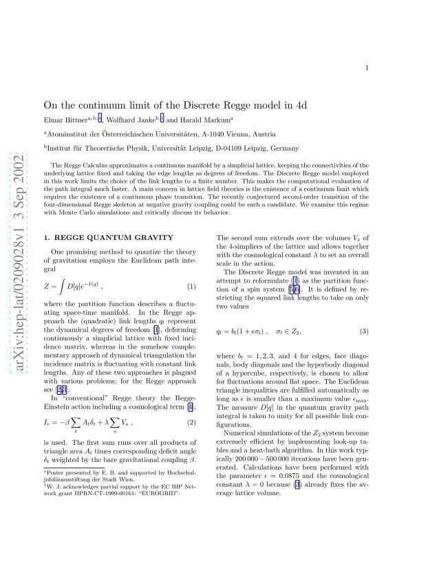 Elmar Bittner - On the Continuum Limit of the Discrete Regge Model in 4d