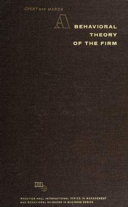 Cover of: A behavioral theory of the firm | Richard Michael Cyert