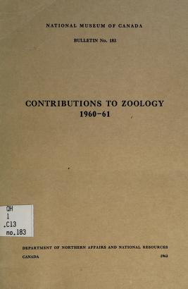 Cover of: Contributions to zoology 1960-61 | National Museum of Canada