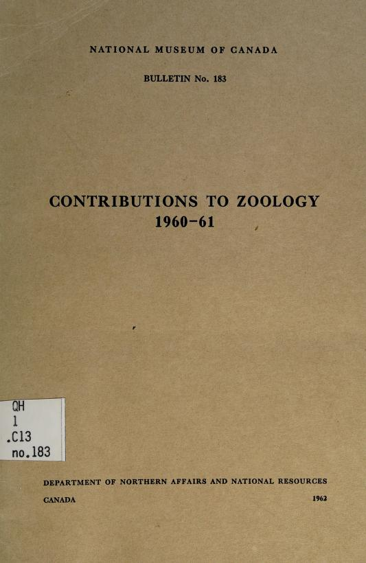 Contributions to zoology 1960-61 by National Museum of Canada