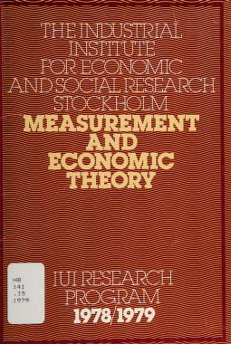 Cover of: Measurement and economic theory | Industriens utredningsinstitut (Sweden)