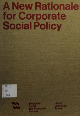 Cover of: A New rationale for corporate social policy | [by] William J. Baumol [and others.