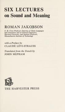 Cover of: Six lectures on sound and meaning | Roman Jakobson