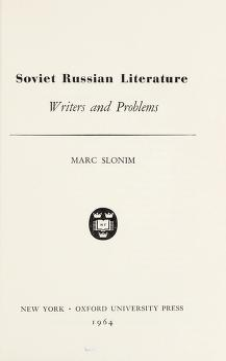 Cover of: Soviet Russian literature | Slonim, Marc