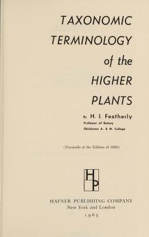 Cover of: Taxonomic terminology of the higher plants | Henry Ira Featherly